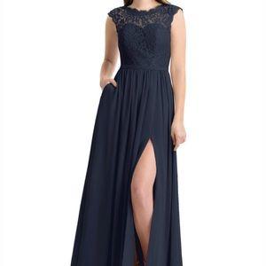 Dark Navy, floor length, bridesmaid dress